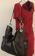 B MAKOWSKY Large Black Genuine Leather Bucket Tote Shoulder Bag Handbag Purse