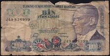1970 L (1986) TURKEY 1000 LIRA BANKNOTE * J49 836999 * FAIR * P-196 *