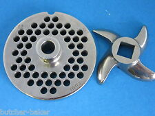 "#22 x 1/4"" w/ HUB S/S Meat Grinder Plate & KNIFE for MTN electric grinders"
