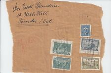 Very nice Toronto Parcel wrapper 2x50c Peace issue +20c+10c+5c Canada roller