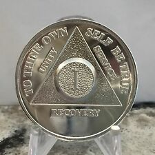 Year 1 - 30 .999 Silver AA Alcoholics Anonymous Medallion Sobriety Chip Coin