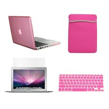 "4 in1 Rubberized PINK Case for Macbook PRO 15"" Retina +Key Cover+LCD +Sleeve Bag"
