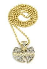 "NEW ICED OUT WU TANG PENDANT &3mm/27"" BALL CHAIN HIP HOP NECKLACE - BXZ81"