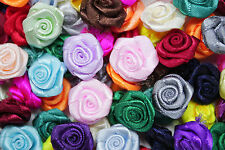 100! LARGE SATIN RIBBON ROSES - 20MM - GREAT COLOUR MIX ROSE APPLIQUE!