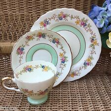 TUSCAN PLANT CHINA 1930s TRIO CUP SAUCER PLATE SET CREAM GREEN FLORAL GILD 7465A