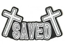 "(H38) SAVED with Crosses 4"" x 2.25"" iron on patch (4095) Christian Biker Vest"