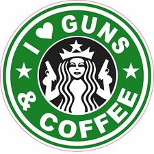 I Love Guns & Coffee Starbucks Vinyl Sticker Decal