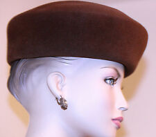 vintage woman's HAT designer FREDERICK FOX BRWN 100% RABBIT HAIR SAKS FIFTH AVE