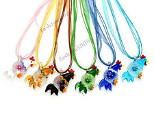 FREE Wholesale Lot 6pcs Chicken Animal Lampwork Glass Pendants Leather Necklace