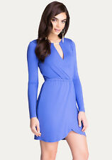 BEBE BLUE KEYHOLE CUT OUT STRETCH WRAP DRESS NEW NWT XSMALL XS
