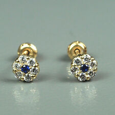 14K solid yellow gold flower natural white Topaz & Sapphire screw back earrings