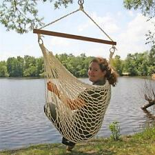 White Cotton Rope Swing Hammock Hanging Outdoor Chair Garden Patio Yard Porch
