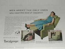 1955 BarcaLounger ad, Lady in recliner, Barcalo Buffalo