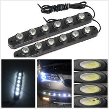 2 X Flexible 6 LED Eagle-eye Bright White Car DRL Fog Light Running Light Strips
