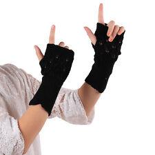 Gift Creative Hollow Leaves Knitted Gloves Girls Wrist Fingerless Winter Gloves