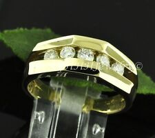 0.65 ct MENS DIAMOND RING CHANNEL SET YELLOW GOLD classy made in USA 14k 5 stone