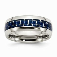 8MM  POLISHED STAINLESS STEEL BLUE CARBON FIBER INSERT BAND/ RING  - SIZE 6