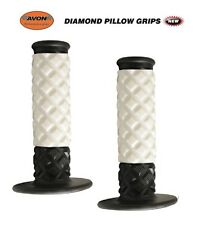 "Avon Grips Diamond Pillow Motocross Dirtbike Twist Throttle 7/8"" WHITE MX HONDA"