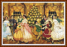 """'THE CHRISTMAS BALL' Cross Stitch Chart (22""""x15"""") Detailed/Xmas/Victorian NEW"""