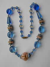 Art Deco Czech necklace with beautiful floral art glass beads & barrel clasp