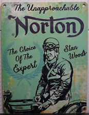 STANLEY STAN WOODS ISLE OF MAN TT ULSTER GP WINNER NORTON POSTER METAL WALL SIGN