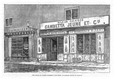 FRANCE House Where Leon Gambetta was born in Cahors - Antique Print 1883