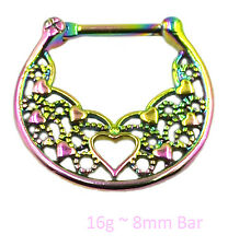 RAINBOW HEART setto CLICKER Acciaio Chirurgico naso anello Daith STAFFA Piercing Bar