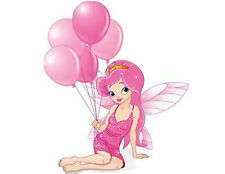 Fairy Balloons Pink 48 Large Sticky White Paper Stickers Labels New