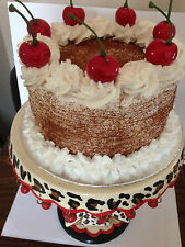 artificial fake 6in cherry cream cake