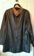 LADIES BLACK WITH BROWN TRIM BUTTER SOFT  LEATHER JACKET COAT HOLLIES CHEST 48