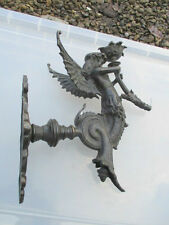 Victorian Gas Wall Light Sconce Cast Brass Winged Angel Mermaid Antique Old