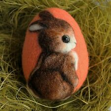 Handmade felted Easter egg with a bunny, 3D effect, 3 1/3in.