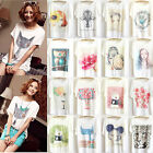 Womens Loose Batwing Short Sleeve Casual Tops Tee Graphic Printed T-Shirt Blouse