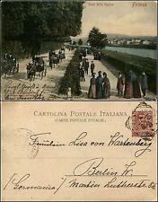 Firenze, viale della Regina, animata colorata, con carrozze, viaggiata 1902