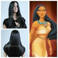 New 80cm Long Straight Black Wig Free Shipping Women Anime Wig Cosplay+ GIFT