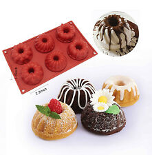 6-Cavity Silicone Bundt Savarin Muffin Chocolate Cupcake Baking Mold Mould Pan