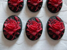 Blooming Red Rose Flower on Black Cameo - 18X13mm Resin Cabochons - Qty 6