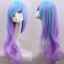 Women Long Charm Blue Mix Purple Wavy Curly Full Hair Wigs Cosplay Costume Wig e