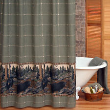 The Bears Wilderness Textured Cotton Canvas Country Lodge Shower Curtain