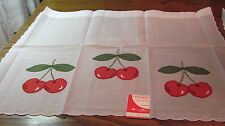 Pair Vintage Swiss Embroidered Applique Red Cherries Curtains DEFECT 36Wx30L NOS
