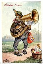 POSTCARD THIELE EASTER RABBIT WITH TUBA 1911 T.S.N. SERIES 1157