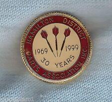 #D176.  HAMILTON DISTRICT   DARTS  ASSOCIATION  LAPEL BADGE, 30 YEARS
