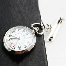 Large Face Nurses Pocket Fob Watch on a Bar with a Brooch Back Silver Color F70