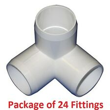 "1"" Furniture Grade 3-Way Corner Elbow PVC Fitting - 24 Pack"
