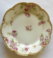 "Haviland Limoges Sch 39D 6"" Bread N Butter China Plate Pink Roses Double Gold"