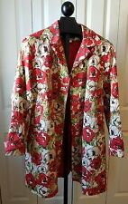 HARVE BENARD LADIES SPRING TRENCH FLORAL WATER REPELLENT RAIN PROOF COAT SIZE XL
