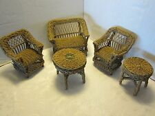 Antiqu Doll House Furniture 5 Piece set Wicker 9.75x7.85 Loveseat chairs tables