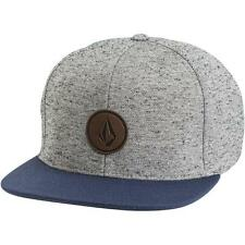 Volcom Quarter Fabric Snapback Hat Cap Mens Navy Grey Wool Adjustable New NWT