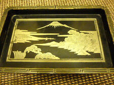 VINTAGE/ANTIQUE ART DECO BLACK LAQUERED TRAY. ORIENTAL JAPANESE MOUNTAIN (FUJI?)