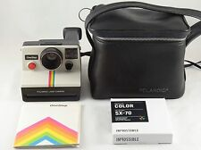 Polaroid SX-70 Land Camera OneStep White Rainbow with Instant Film Case & Manual